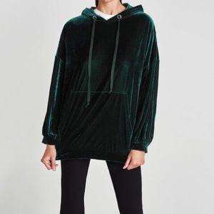 Oversized Crushed Velvet Hoodie Green
